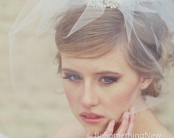 Wedding Viel Tulle Birdcage Veil with Flower Rhinestone Comb Wedding Hair Accessory Bridal Veil Bird cage Veil, Short Veil Headpiece
