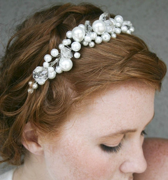 Pearl tiara with chandelier crystals, simple wedding headband. wedding hair accessory