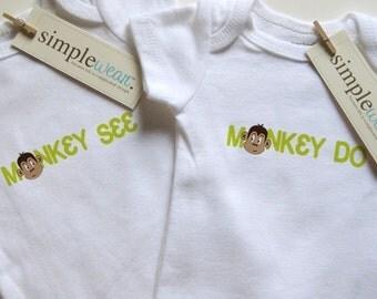 monkey see, monkey do baby bodysuit for twins