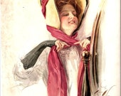 Harrison Fisher Beautiful Enchanting Girl with Bonnet -- 1907 Illustration - Cover New York Tribune