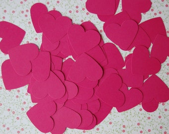 Hot Pink Hearts Confetti--Punch-Cut Outs-Wedding Table Confetti-Heart Party-Heart Craft DIY-Valentine -- Set of 50 hearts -- Ready to Ship