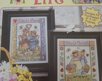 Friends for Life Cross Stitch Pattern, Leisure Arts, Gardening Friends, Friends and Tea, Friendship Counted Cross Stitch Pattern