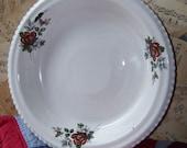 Vintage White Enamel Pie Plate Rose...Tray...Mid Century...Shabby...Cottage Chic Decor...Enamelware...Nostalgic