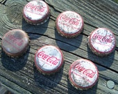 Vintage 6 Coca Cola Bottle Caps...Mid Century...Cork Lined...Instant Collection...Old...Southern...Pop Bottle Caps...Coke...Salvaged Art