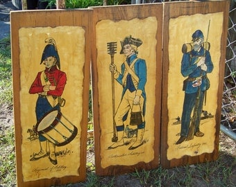 Vintage Military Soldier Prints Wall Art..Decoupaged Plaques..Kitschy...Masculine Man Cave Decor...Vintage Military Army Collector