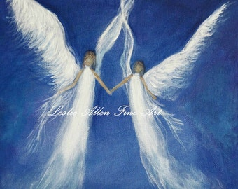 "Angel Art Angels Art Print Angel Painting Decor Religious Angelic Heavenly Sisters Wall Art Inspirational ""My Angels"" Leslie Allen Fine Art"
