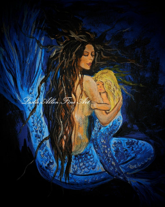 "Mermaid Mermaids Art Print Giclee Mother Child Mermaid Wall Art Mermaid Decor Mermaid Wall Art  ""The Deepest Love Series 3"""