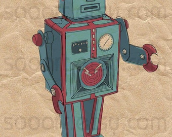 robot 2 VINTAGE  -Digital Image Sheet -Original Illustrate Drawing  A4 Print transfer on Pillows, t-shirts, scrapbook, lampshades  ETC.v