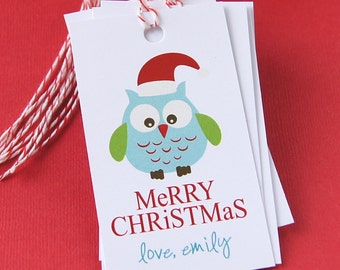 Santa Owl Personalized Christmas Tags or Package Labels (Qty. 10)