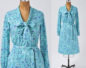 Vintage 1970s Blue Floral Dress, Womens Shirt Dress with Soft Bow, Waistband Tie Size Medium