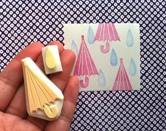 umbrella stamp set. umbrella and rain drop hand carved rubber stamps. set of 2