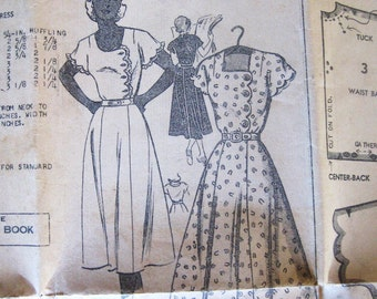 Unused 50s Vintage Dress Pattern, Full Skirt, Scalloped Bodice & Short Sleeves, Square Neck, Mail Order 2934, Day to Cocktail, Bust 34