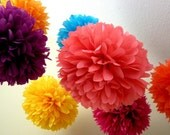 BRIGHTS / 10 tissue paper pom poms / wedding decorations / diy / fiesta colors / birthday party pompoms / bright and fun decorations