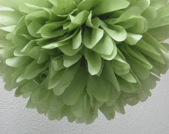 GREEN TEA / 1 tissue paper pom pom / diy / wedding decorations / birthday party pom decor/ green decorations / aisle marker poms /easter