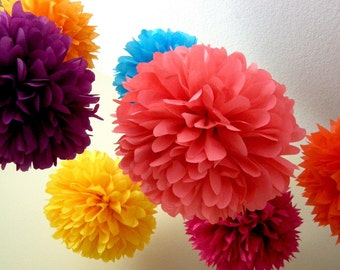BRIGHTS / 10 tissue paper pom poms / wedding decor / fiesta colors / birthday party pompoms / bright and fun decorations / mother's day
