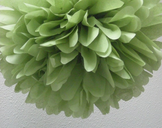 GREEN TEA / 1 tissue paper pom pom / diy / wedding decorations / birthday party pom decorations / green decorations / aisle marker poms