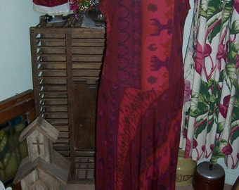 Vintage Carole Little Burgandy Red Tribial Print Rayon Dress 38 inch Bust  34 inch Waist