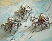 Octopus Cufflinks & Tie Tack Set of 3 - Original Cufflink Design By Cosmic Firefly Las Vegas