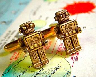 Black Friday Robot Cufflinks Rustic Brass Cuff Links Cosmic Firefly Original Steampunk Men's Accessories & Gifts Antique Toy Robots Shape