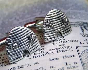 Beehive Cufflinks Silver Plated Miniatures With Tiny Bees Men's Cufflinks Silver Cufflinks