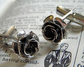 Men's Steampunk Cufflinks Gothic Victorian Roses Antiqued Silver & Black Metal Flowers Classy Subtle Vintage Inspired Handcrafted USA