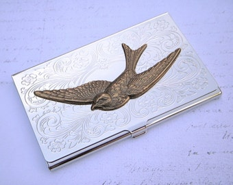 Victorian Bird Business Card Case Woman's Steampunk Case Brass Sparrow Gothic Victorian Accessories Vintage Style Card Case