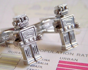 Robot Cufflinks Men's Steampunk Cufflinks Silver Cufflinks Men's Cufflinks The Originals From Cosmic Firefly Las Vegas Silver Plated