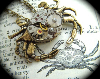 Steampunk Necklace Brass Crab Necklace Vintage Watch Movement Crab Nautical Sealife Popular Jewelry Rustic Gold Brass Metal Lightweight