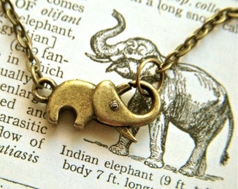 Tiny Elephant Bracelet Fashion Jewelry Antiqued Brass Elephant Bronze Rustic Finish Clasp Trunk Up For Good Luck Cosmic Firefly