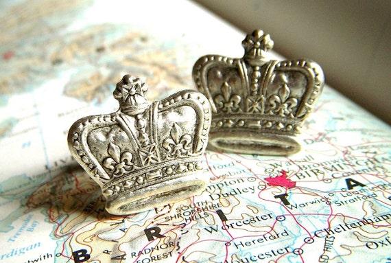 Crown Cufflinks Silver Cufflinks Men's Cufflinks Men's Accessories Vintage Inspired Style Royal Victorian Steampunk Cuff Links