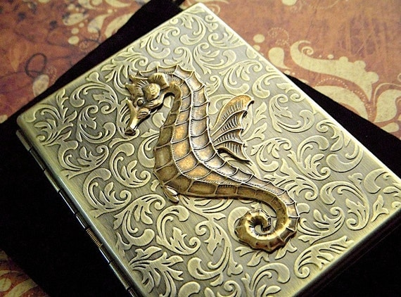 Metal Cigarette Case Brass Seahorse Rustic Antiqued Gold Tone Gothic Victorian Steampunk Style Vintage Inspired Nautical Gifts For Him