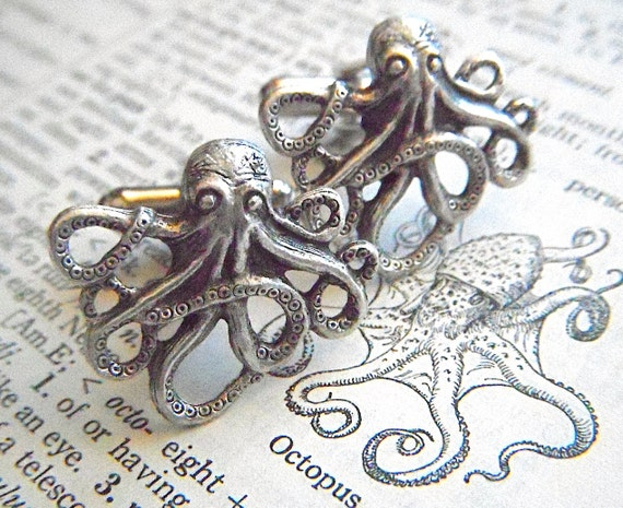 Men's Cufflinks Silver Octopus Cufflinks Silver Cufflinks By Cosmic Firefly Popular Men's Gifts Men's Accessories