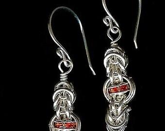 Chainmaille Earrings Byzantine Swarovski
