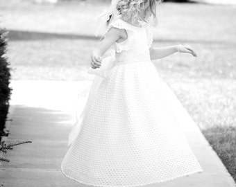 Devin's White Diamond Children Dress Ensemble Crochet Digital e Pattern  (girl size 8,10,12,14) 011P-LG