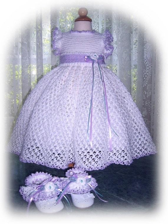 Tiny Olivia Lace Dress Ensemble Crochet PDF ePattern (size 6mo-12mo, 24mo)