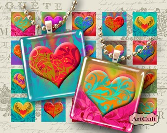 Digital Collage Sheets CURLY HEARTS 1x1 inch and 7/8x7/8 inch size Printable images for square tile pendants, magnets, bezel cab settings