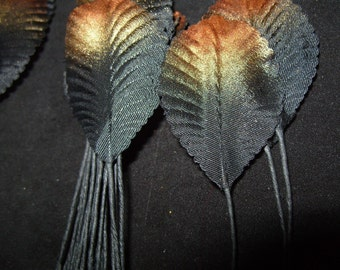 Vintage Ribbed Black w/ Gold Millinery Hat Flower Fabric Craft Leaves