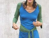 Wrap dress-dress with sleeves- Knee length womens dress-Convertible dress-Knee length dress-Day dress