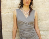 Womens clothing-Wrap tank top-Summer tops-Sleeveless top-Taupe/smokey Tank -2 ways top/  Sleeveless SNUGGLE UP TOP -Plus size