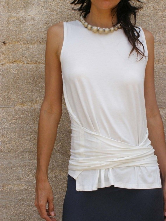 Off white summer wrap tops- white Tank top-Sleeveless Women's wrap top-Women's Tank top-Womens blouse-Yoga top