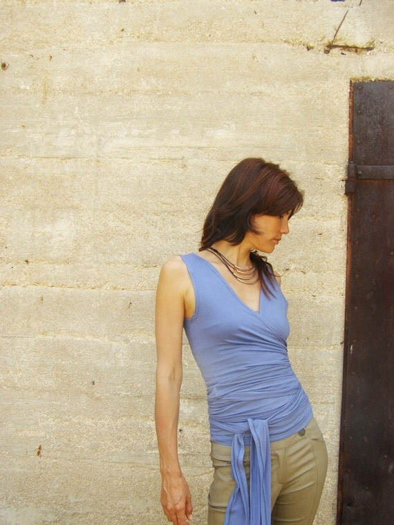 Sleeveless Womens  top/shirt-Convertible wrap top/Tank top in denim blue- SNUGGLE UP TOP-Sleeveless Maternity top-Yoga top