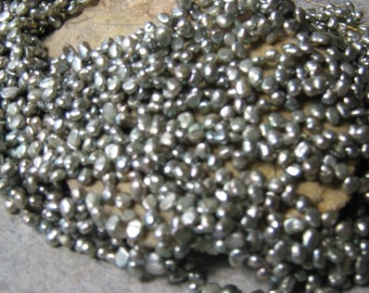 Light metallic Sage Top Drilled Freshwater pearls