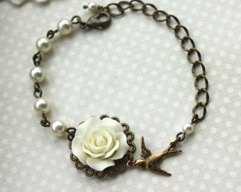 Ivory Rose Flower, Swarovski Ivory Pearls, Flying Swallow Bird Adjustable Bracelet. Bridesmaid Gift, Sister. Bridal Rustic Wedding Gift, Mom