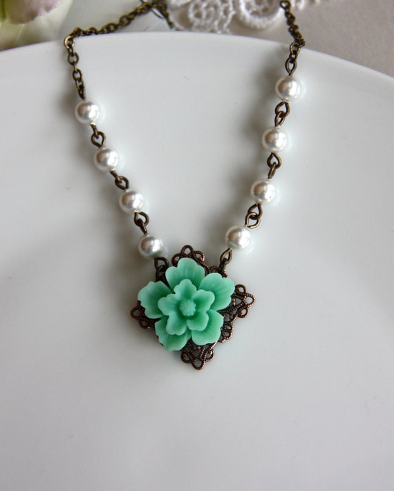 A Sakura Turquoise Green Flower with Cream Glass Pearls Necklace. A Lovely Gift. Bridal Gift Party