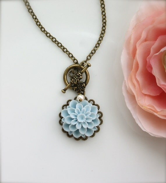 A Sweet Light Baby Blue Chrysanthemum Flower Necklace. Single Flower. Toggle Clasp Necklace. Bridesmaid Gifts. Something Blue Wedding.