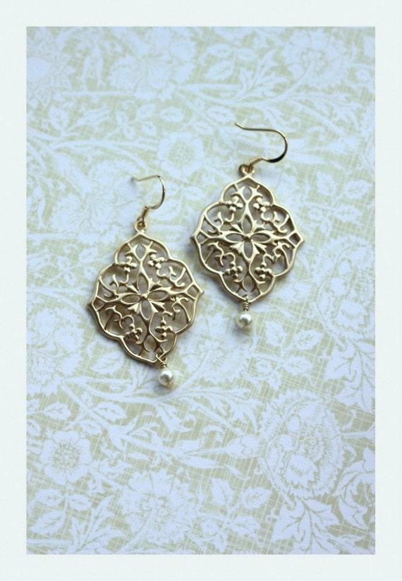 Gold Plated Oriental Gypsy Art Deco Filigree Chandelier Pearl Earrings. Maid of Honor. Bridesmaid Gifts. Boho Summer Wedding. Kite Shield