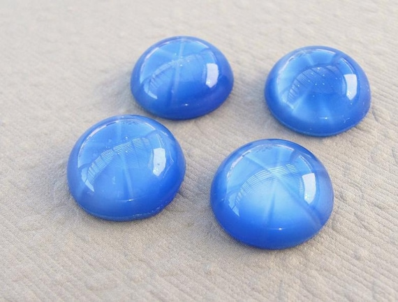 15mm Round - Vintage Blue Moonstone - Star Opal Glass Cabochons (2)
