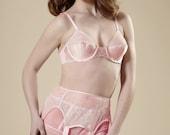 Pink Sheer & Chantilly Lace Garter Belt Vintage Style 6 Strap