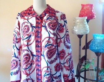 70s Red White Blue Blouse Vintage Paisley Blouse