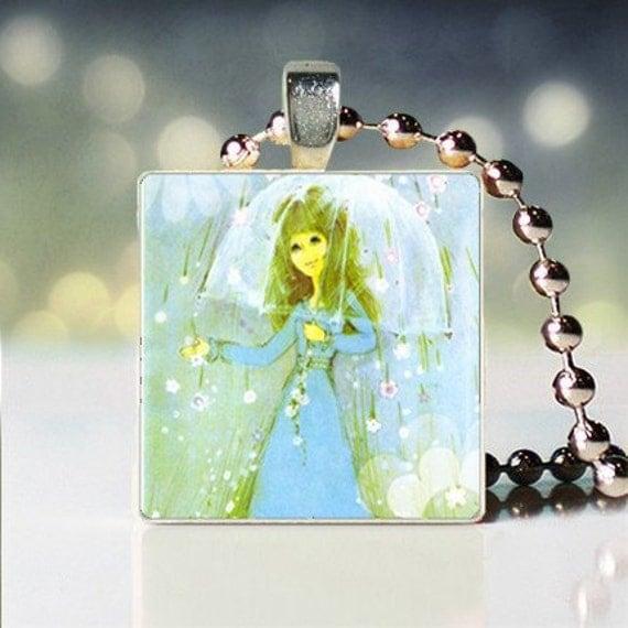 Its Raining its Pouring scrabble tile pendant